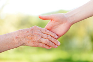 hands on an elderly and an adult